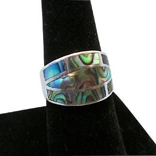 Vintage .925 Sterling Silver Paua Abalone Shell Inlay Ring Sz 7