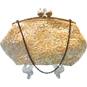 Vintage French Handmade Chained Purse with Pastel Sequins
