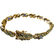 Vintage 925R Gold Over Sterling Silver Chip Diamond Blue Gem Stone Segmented Bracelet