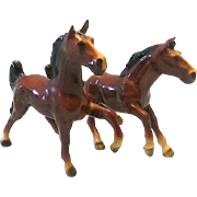 Rare Vintage Pair of Mortens Studio Brown Colt Figurines c1950s