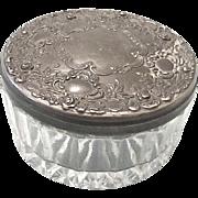 Vintage 1950s Art Nouveau Silver Plated Glass Powder Jar by International Silver Company