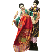 "Amazing 28"" Tall Vintage Korean Asian Costumed Silk Couple Dolls"