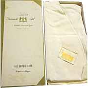 "Ivory ""Daisy"" Damask Set Round Tablecloth 6 Napkins Unused - Japan"