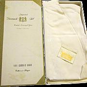 """Ivory """"Daisy"""" Damask Set Round Tablecloth 6 Napkins Unused - Japan"""