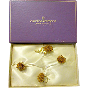 Signed EMMONS Set ~ Brooch/Pin - Clip Earrings & Cocktail Ring c1960s in Original Box