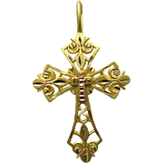 Vintage Michael Anthony 2-Tone 14K Gold / Copper Cross Pendant -Diamond Cut - Filigree - Original Box c1980s - Free Ship*