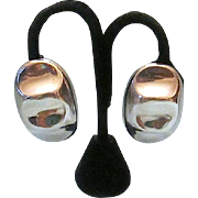 Vintage Mexico Sterling Silver Pinched Chunky Dome Clip Earrings Signed TV-84 - Free Ship*
