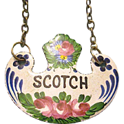 Antique 19th Century Hand-Painted Enameled Scotch Decanter Label/Tag - France
