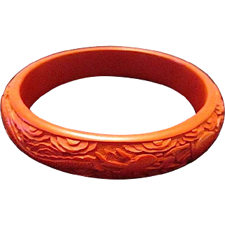 Chinese Red Cinnabar Deeply Carved Double Dragon Bangle/Bracelet -Free Shipping*