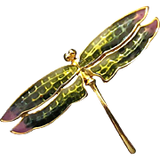 Dragonfly Pin/Brooch with Enameled Purple - Black - Green - Yellow Colors on Gold Tone