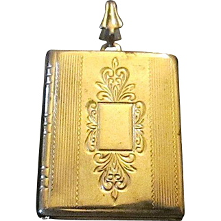 Vintage Gold Filled Book Style Locket Pendant/ Charm circa 1950's
