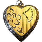 Vintage Heart Shaped Gold Filled Chased Locket Pendant