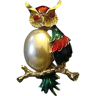 Colorful Enameled Owl On Branch Pin Brooch Faux Pearl Body