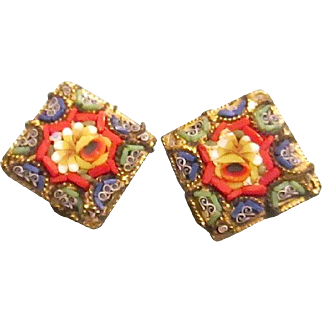 Vintage Micro-Mosaic Italian Made Floral Clip Earrings.