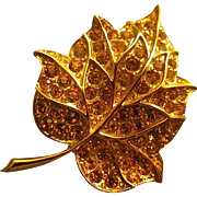 Stunning Designer RAPALLO Leaf Brooch Pin with Copper Veins & AB Amber Rhinestones