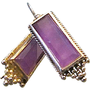Vintage Pair of Sterling Amethyst Rectangular Drop Earrings
