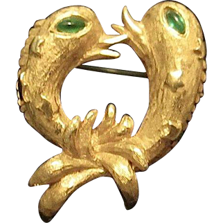 KJL Green Eyed Gold Tone Double Fish Pin Brooch