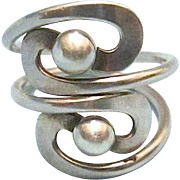 Mexican Made 925 Sterling Silver Modernistic Double Ring - sz 7 1/2