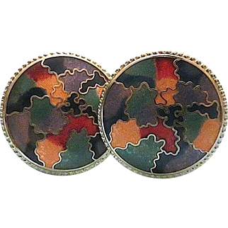 Beautiful Cloisonne Round Colorful Clip Earrings Still New On Board Vintage 1980s
