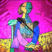 """PICASSO Abstract Scarf / Textile """"Two Women"""" Signed Cubist Portrait"""