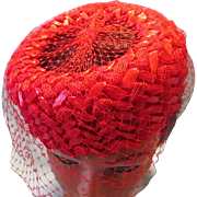 Beautiful Crimson Red Woven Straw Pill Box Hat with Veil Netting