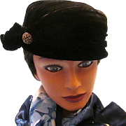 Designer KAREN Hat ~Shirred Black Velvet Hat with Half-Bow and Beaded Button circa 1950s