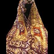 """Vintage 100% Silk Indian Made Batik Designed Scarf - 60""""x10"""""""