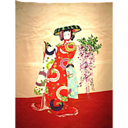 Brightly Colored Silk Mix Scarf of Traditionally Dressed Japanese Geisha Woman