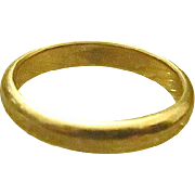 Vintage 14K Yellow Gold Plain Wedding Band by J.R. Woods & Sons - size 9