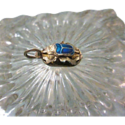 3-D Egyptian Sterling Silver Scarab Pendant Charm with Blue Enamel Inlay