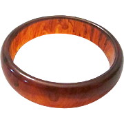 Vintage Root Beer Swirl Wide Lucite Bracelet Bangle