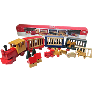 1992 ~ 21 Piece Colorful Wooden Train Set For Holiday Play/ Display