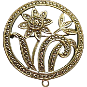 Lovely Sterling Silver with Marcasite Round Floral Pin Brooch - 1940s
