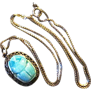 Vintage Egyptian Faience Scarab Pendant on Sterling Silver Chain Necklace