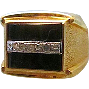 Large VARGAS H.G.E. Men's Ring - Nice CZ Stones on Faux Onyx - Size 8.5