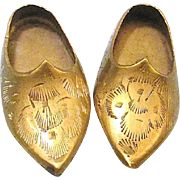 Vintage Miniature Brass Slippers Shoes Made In India