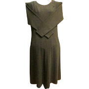 TALBOTS PETITES Long Sleeve Grey Dress sz. Large - 1980s