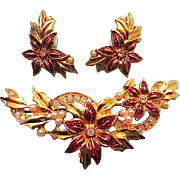 Vintage AVON Enamel Rhinestone Seed Pearl Poinsettia Flower Brooch & Pierced Earrings