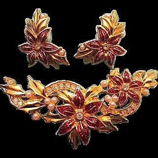 Vintage AVON Enamel Rhinestone Seed Pearl Poinsettia Flower Brooch & Pierced Earrings