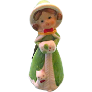 1978 Merri-Bells Bisque Porcelaine Christmas Girl Bell - JASCO