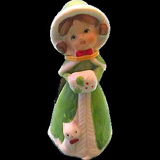 1978 Merri-Bells Bisque Porcelaine Christmas Girl Bell - JASCO