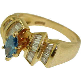 Designer 14k Yellow Gold 3/4ct Blue & White Diamond Engagement Wedding Ring