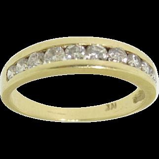 14k Yellow Gold .55ct Diamond Wedding Band Ring Sz 6