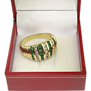 14k Yellow Gold 1.75ctw Emerald & Diamond Band Ring Sz 9.25
