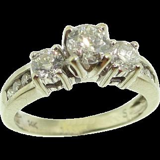 14k White Gold 1ctw Diamond Engagement Wedding Ring Sz 6.5