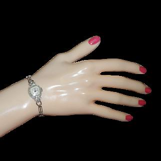 "Vintage Art Deco Ladies Glycine Platinum Diamond Watch with 14k  White Gold Bracelet 6.5"""