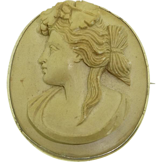 Large Antique Mid Victorian Era High Relief Left Facing Lady Lava Cameo Brooch Pin