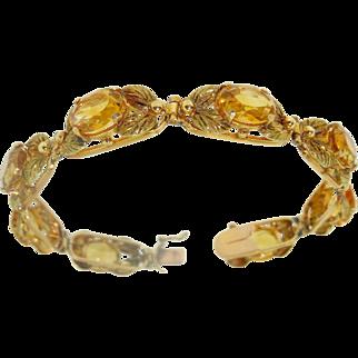 "Vintage 22gm 18k Yellow Gold 20ct Citrine Bracelet 7"""