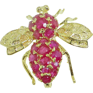 Vintage 14k Yellow Gold encrusted Ruby Figural Insect 3D Bee Pin