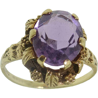 Antique 9k 375 Yellow Gold 2.5 Carat Solitaire Amethyst Ring Sz 5.25
